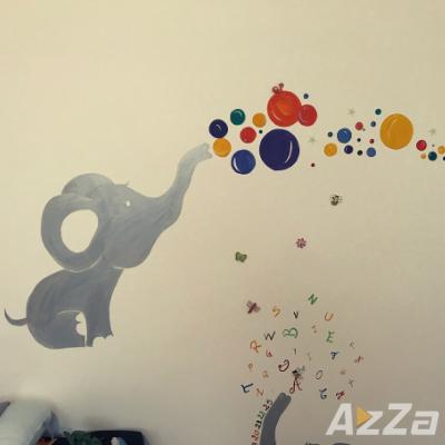 Pereti Pictati Elefant cu Bule - Decor camera copilului