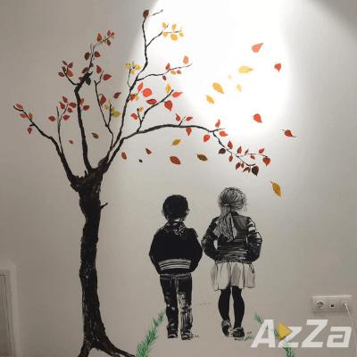 Desen pe perete Bucuresti - Fata si Baiat